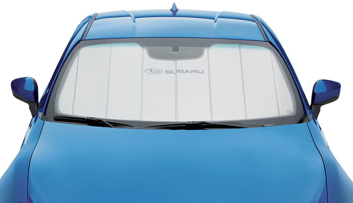 The foldable sunshade offers a triple layer of protection to help reduce vehicle temperature up to 40 degrees. Custom-cut to fit properly, it includes a handy storage bag.
