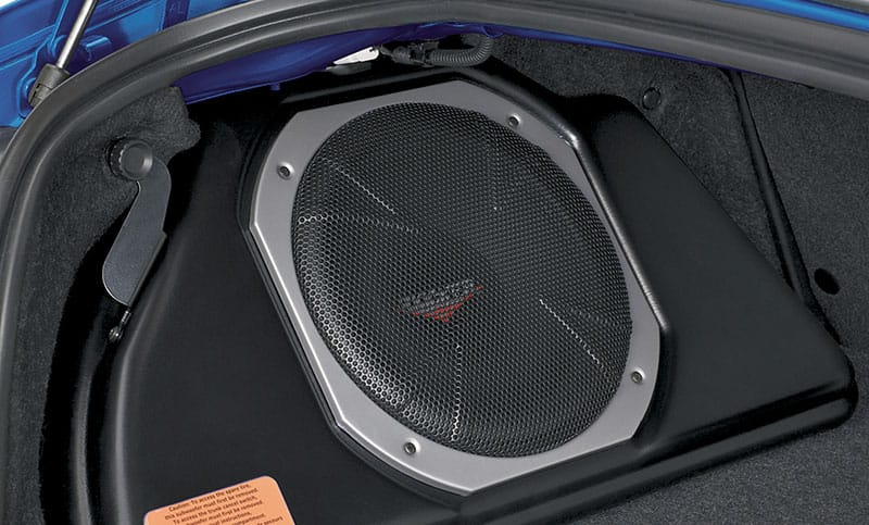 <b>10-inch Powered Subwoofer</b>  Provides powerful, deep bass and also assists in clean sound reproduction from all vehicle speakers. This is achieved by its integrated 100W amplifier and a passive crossover network. The self-contained unit mounts in the trunk. Manufactured for Subaru of America by Kicker®. Cannot be installed with Cargo Tray.