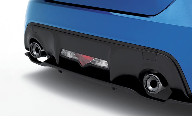 <b>Rear Bumper Diffuser</b>  Lower rear body panel helps to direct airflow and adds a sculpted finishing touch to the BRZ lower rear body line.