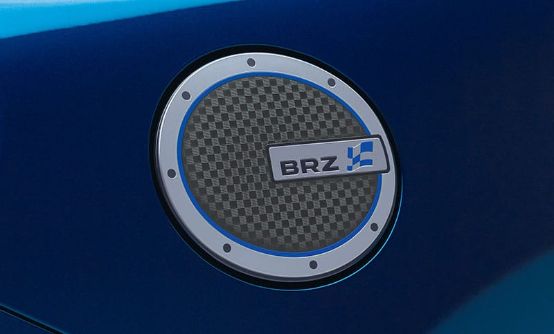 <b>Chrome Fuel Door Cover</b>  Give your BRZ a sportier look by adding a touch of personalization with this chrome-plated fuel door cover.