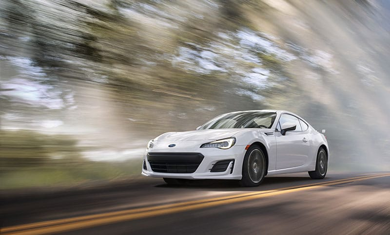 <br>With the compact, high-revving 205 horsepower<sup>6</sup> SUBARU BOXER® engine as a foundation, all the necessary qualities built-in—quick steering, low center of gravity, rear-wheel drive, low weight, energetic throttle response—the BRZ delivers driving euphoria at any speed.<br>