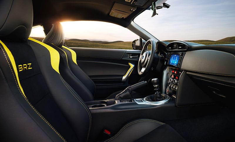 <br>From the small-diameter, leather-wrapped steering wheel to the strategically placed pedals, obliging shifter and low-mounted performance-design front seats—you'll find no less than the ideal driving position in the BRZ.<br><br>