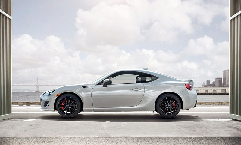 <b>10-spoke Alloy Wheels</b>  The black 17 x 7.5-inch, 10-spoke aluminum-alloy wheels are a perfect complement to the timeless looks and unforgettable performance of the BRZ.