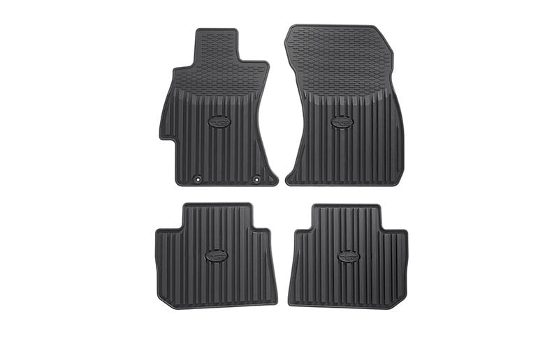 <b>All-weather Floor Mats</b>  Custom-fitted heavy gauge floor mats help protect the vehicle carpet from sand, dirt and moisture.   <i>Not intended for use on top of Carpeted Floor Mats.</i>