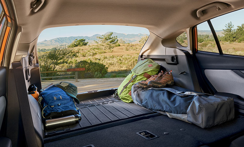 Easier than ever to pack up and go, the 2018 Crosstrek has more cargo room—up to 55.3 cubic feet with the rear seats folded down—and a rear gate opening that is up to 4 inches wider