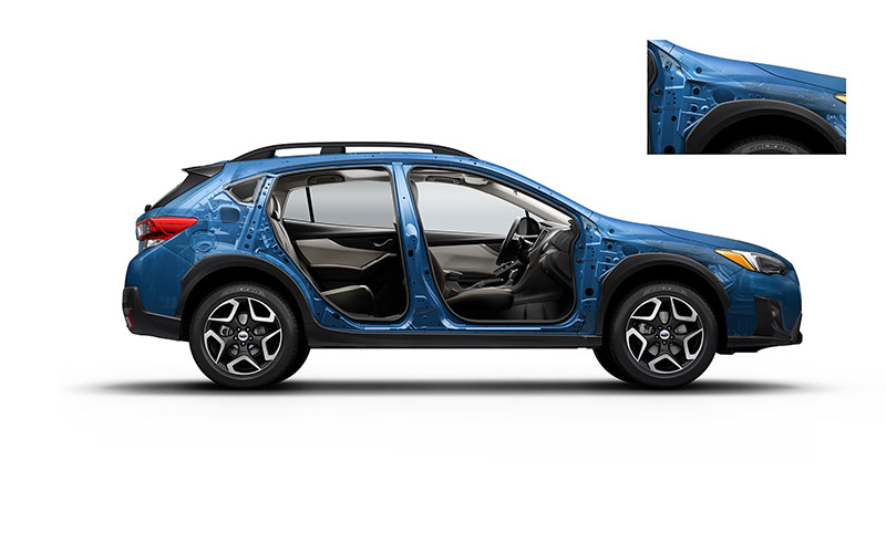 <b>More Protection</b><br>        <br>Now stronger and safer, the 2018 Crosstrek features the all-new Subaru Global Platform with an increased use of high-strength steel for better crash protection, plus a 40% increase in impact energy absorption. It's also 70% more rigid and features a lower center of gravity for increased maneuverability and accident avoidance. You can count on our Ring-shaped Reinforcement Frame for extra protection as well.<br>