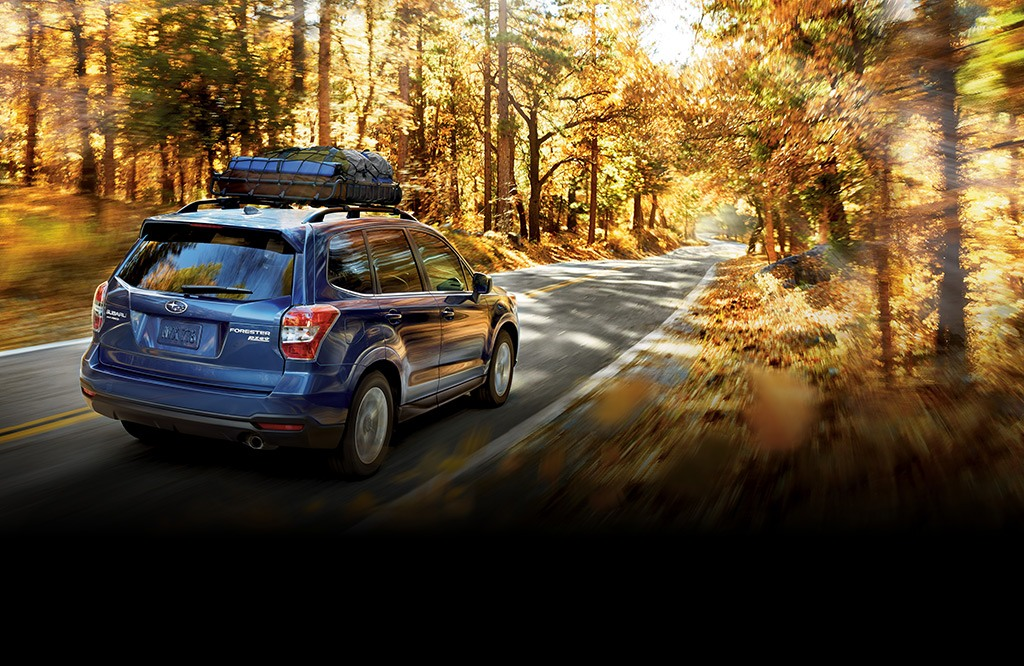 Forester 2.5i Limited in Quartz Blue Pearl with accessory equipment.