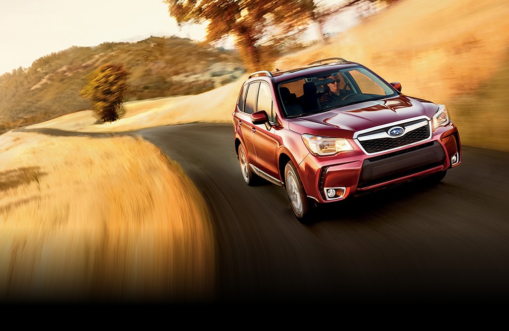 Forester 2.0XT Touring in Venetian Red Pearl with optional equipment.