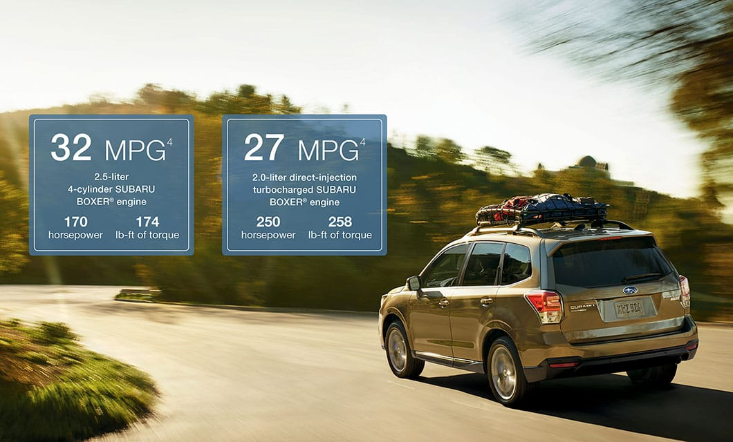 <br>Achieving up to 32 highway MPG<sup>4</sup> with standard Subaru Symmetrical All-Wheel Drive, the 2017 Forester enables you to go up to 500 miles on a tank of fuel<sup>5</sup>. And with available X-MODE® featuring Hill Descent Control that helps safely navigate the steep and slippery, it's as capable as it is efficient. An open invitation to go far and get more done.<br>