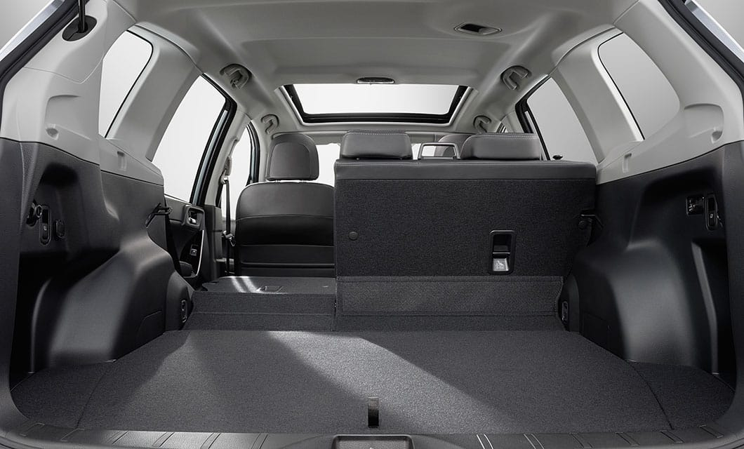 <b>Large Cargo Area</b><br><br>With this much cargo room, the Forester is great at handling big hauls. In fact, the large rear opening delivers up to 74.7 inches of cubic space with the rear seats down.<br>