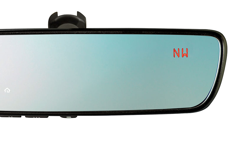 <b>Auto-dimming Mirror with HomeLink<sup>&reg;</sup></b><br><br>This upgraded auto-dimming mirror detects glare and darkens automatically to protect your vision, while featuring an 8-point digital compass. Three backlit HomeLink<sup>&reg;</sup> buttons can be programmed to operate most garage doors, security gates, home lighting and more. Can also provide you with the last status of your garage door (open or closed) if programmed to a compatible opener featuring two-way communication.<br>
