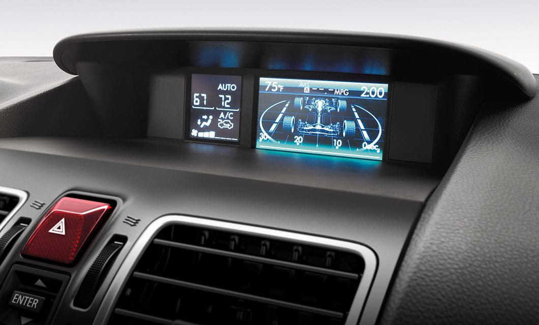 <b>Multifunction Display</b><br><br>At 4.3 inches, the standard full-color multifunction display helps you keep tabs on average fuel economy, driving range, maintenance reminders and more. It also features a user configurable triple gauge meter,  an X-MODE<sup>&reg;</sup> operation display, and for 2.0XT models a turbo boost gauge.<br>