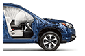 <b>Passenger Protection</b><br><br>To help keep occupants safe, we included seven standard airbags, including a driver's knee airbag for extra protection in the event of a crash.<sup>14</sup> However, should the unexpected happen, you can also count on the exceptionally strong ring-shaped reinforcement frame to help protect everyone inside.<br>
