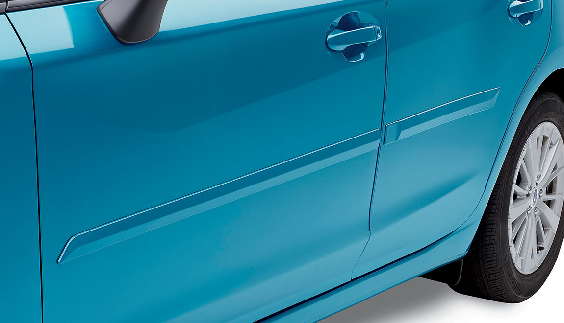 Attractive, color-matched moldings coordinate with the styling of the vehicle while helping to protect doors from unsightly dings.