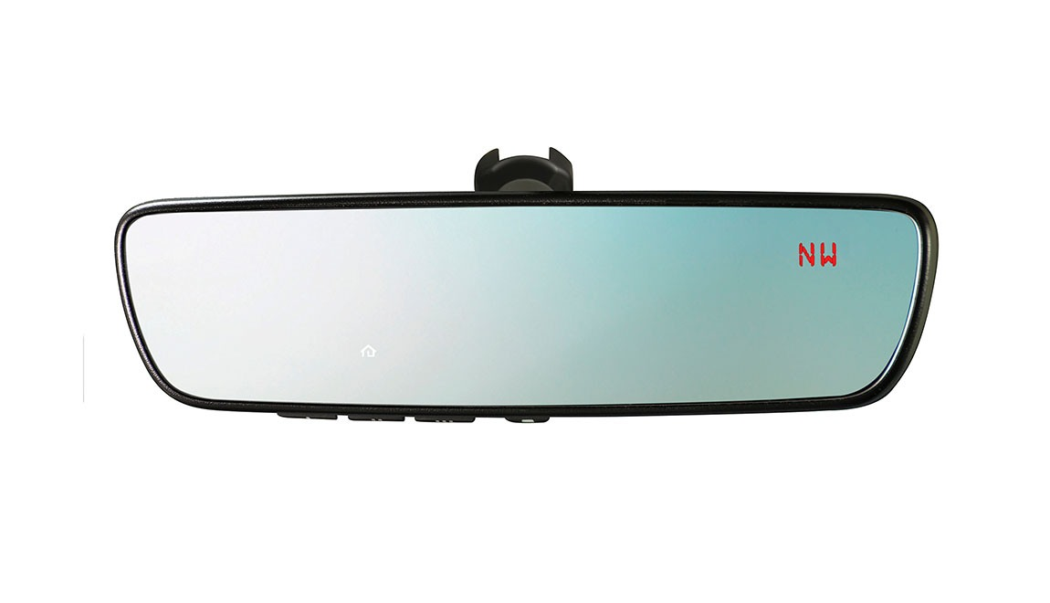 This upgraded Auto-Dimming Mirror detects glare and darkens automatically to protect your vision, while featuring an 8-point digital compass. Three backlit HomeLink<sup>®</sup> buttons can be programmed to operate most garage doors, security gates, home lighting and more. It can also provide you with the last status of your garage door (open or closed) if programmed to a compatible opener featuring two-way communication.