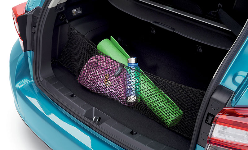 <b>Cargo Net</b> <br><br>Neatly holds cargo and prevents it from sliding while the vehicle is in motion.