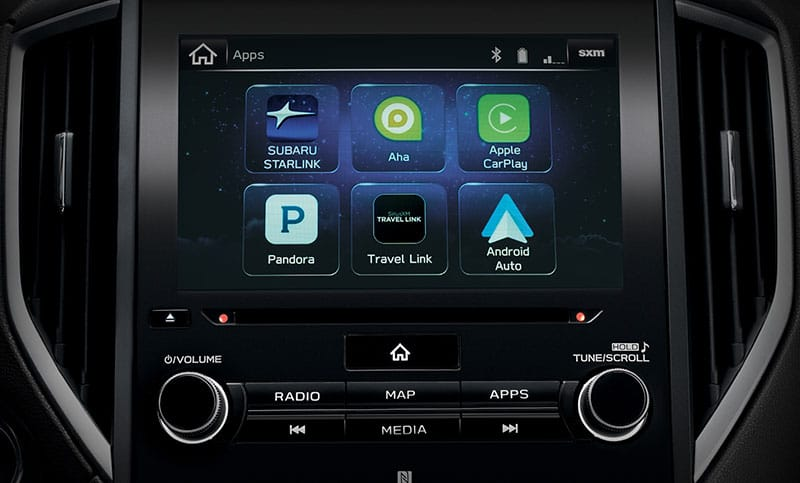<b>SUBARU STARLINK<sup>&trade;</sup> Multimedia</b><br><br>The latest SUBARU STARLINK<sup>&trade;</sup> Multimedia system with standard Apple CarPlay,<sup>&trade;</sup> Android Auto<sup>&trade;</sup> and Pandora<sup>&reg;</sup> app integration<sup>14</sup> makes it easier than ever to play your favorite music and make calls while your hands stay on the wheel and your eyes on the road. <br><br>Connecting via Bluetooth<sup>&reg;</sup> and USB port, you can access your favorite content, news, navigation, food, weather, podcasts, audiobooks and more with STARLINK<sup>&reg;</sup> apps like Magellan<sup>&reg;</sup><sup>15</sup>, iHeartRadio<sup>&reg;</sup>  and Aha<sup>&trade;</sup><sup>4</sup>, or you can enjoy available SiriusXM<sup>&reg;</sup> All Access Radio<sup>16</sup> and Travel Link<sup>&reg;</sup><sup>16</sup> all on the large available 8-inch touchscreen<sup>4</sup>.