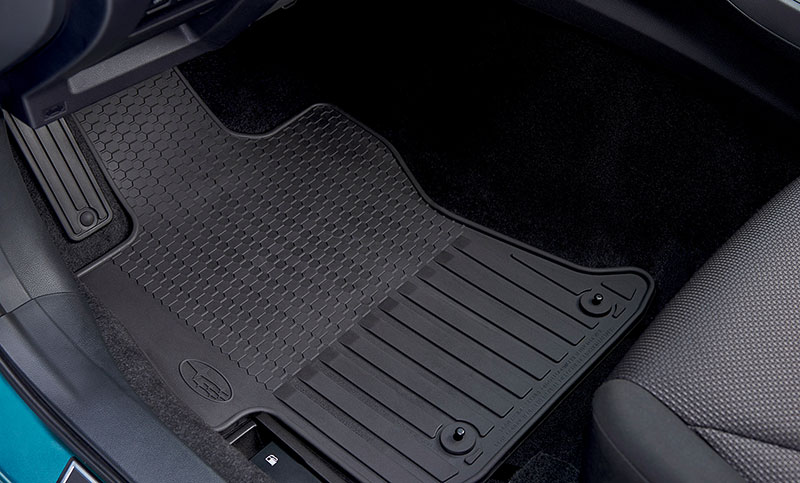 <b>All-Weather Floor Mats</b><br><br>Custom-fitted, heavy-gauge floor mats help protect the vehicle carpet from sand, dirt and moisture. Not intended for use on top of carpeted floor mats.