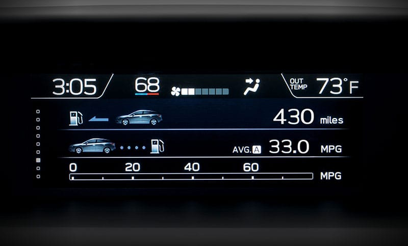 <b>Multifunction Display</b><br><br>At 6.3 inches, the available full-color multifunction display helps you keep tabs on safety systems, navigation directions, average fuel economy, driving range, maintenance reminders and more<sup>4</sup>.