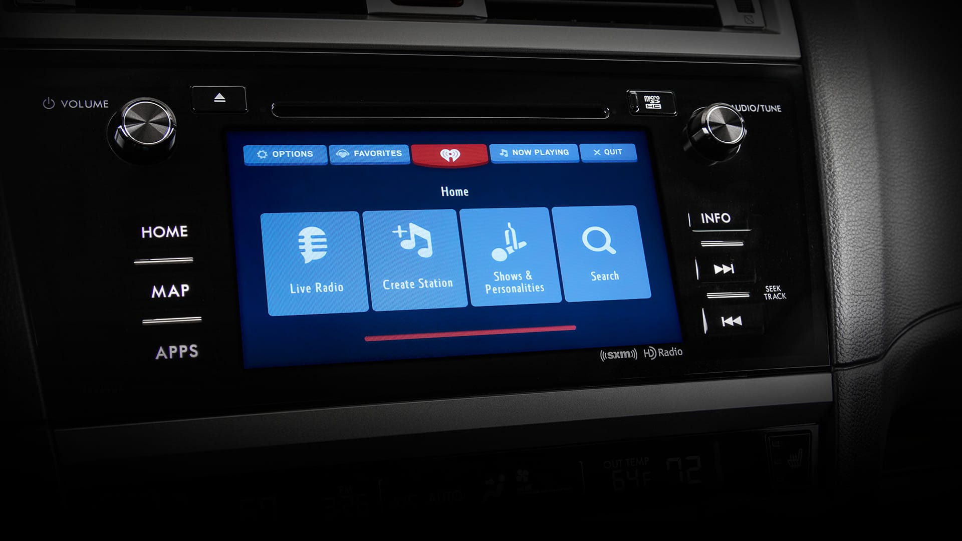 "The large 7.0"" touchscreen gives you access to all your entertainment options, including SiriusXM<sup>&reg;</sup> Satellite Radio<sup>2</sup>, HD Radio<sup>&reg;</sup> and access to apps like Pandora<sup>&reg;</sup>, iHeart<sup>&reg;</sup> Radio, Stitcher™ and Aha™<sup>3</sup>. STARLINK also shows incoming texts onscreen, so you can stay in touch without taking your focus from your drive<sup>4</sup>."