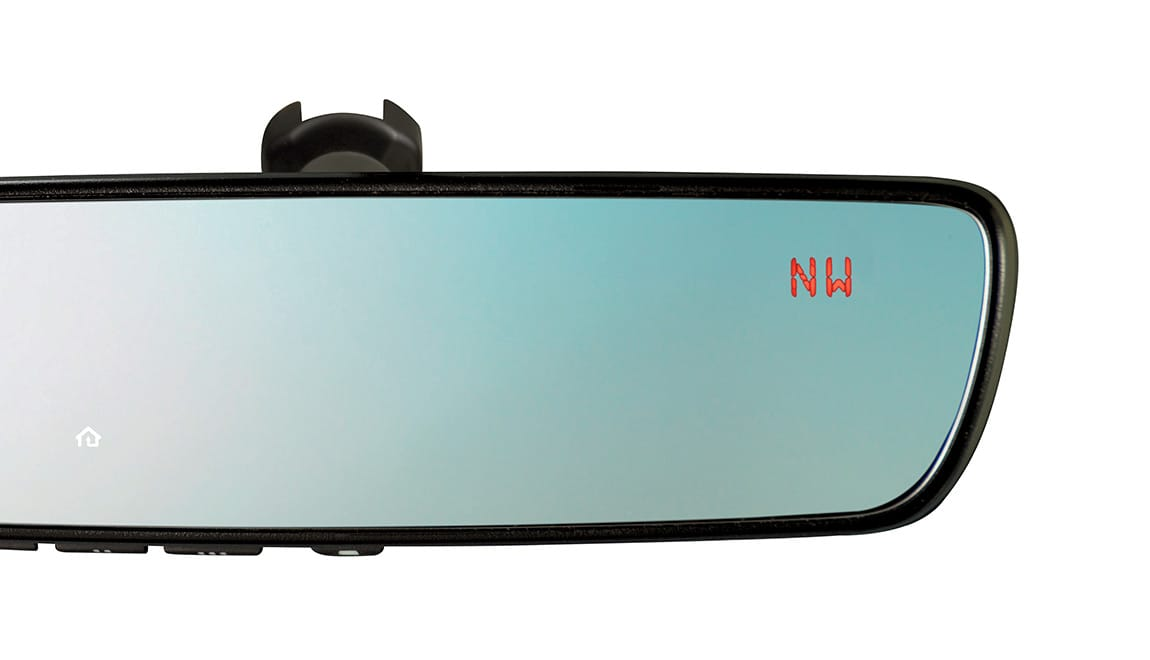 This upgraded auto-dimming mirror detects glare and darkens automatically to protect your vision while featuring an 8-point digital compass. Three backlit HomeLink<sup>&reg;</sup> buttons can be programmed to operate most garage doors, security gates, home lighting and more. Can also provide you with the last status of your garage door (open or closed) if programmed to a compatible opener featuring two-way communication.