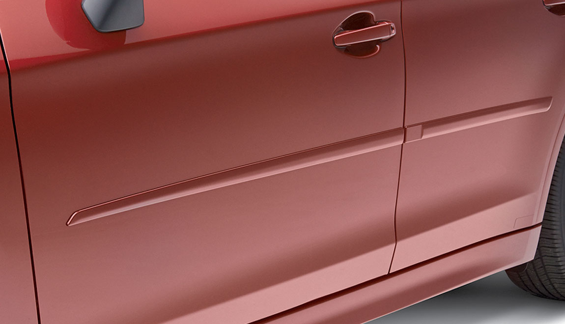 Attractive color-matched moldings coordinate with the styling of the vehicle while helping to protect doors from unsightly dings.
