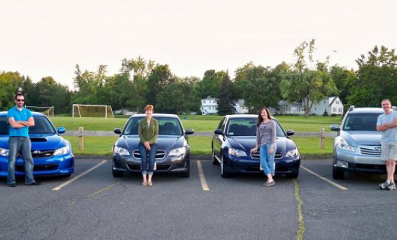 <b>One thing we all have in common...</b><br><br>&ldquo;Loving our Subarus may just be the one thing all four of us have in common! My dad, Jack, is with his second Subaru, a 2010 Outback. His first Subaru was a &rsquo;79 wagon! My mom, Rosemary, is with her second Subaru (&rsquo;09 Legacy), I&rsquo;m posing with my first (&rsquo;05 Legacy, which was previously my mom&rsquo;s), and brother Dave is shown here with his third (2012 WRX). Family pride!&rdquo;<br><br>—Laura N., East Longmead, MA