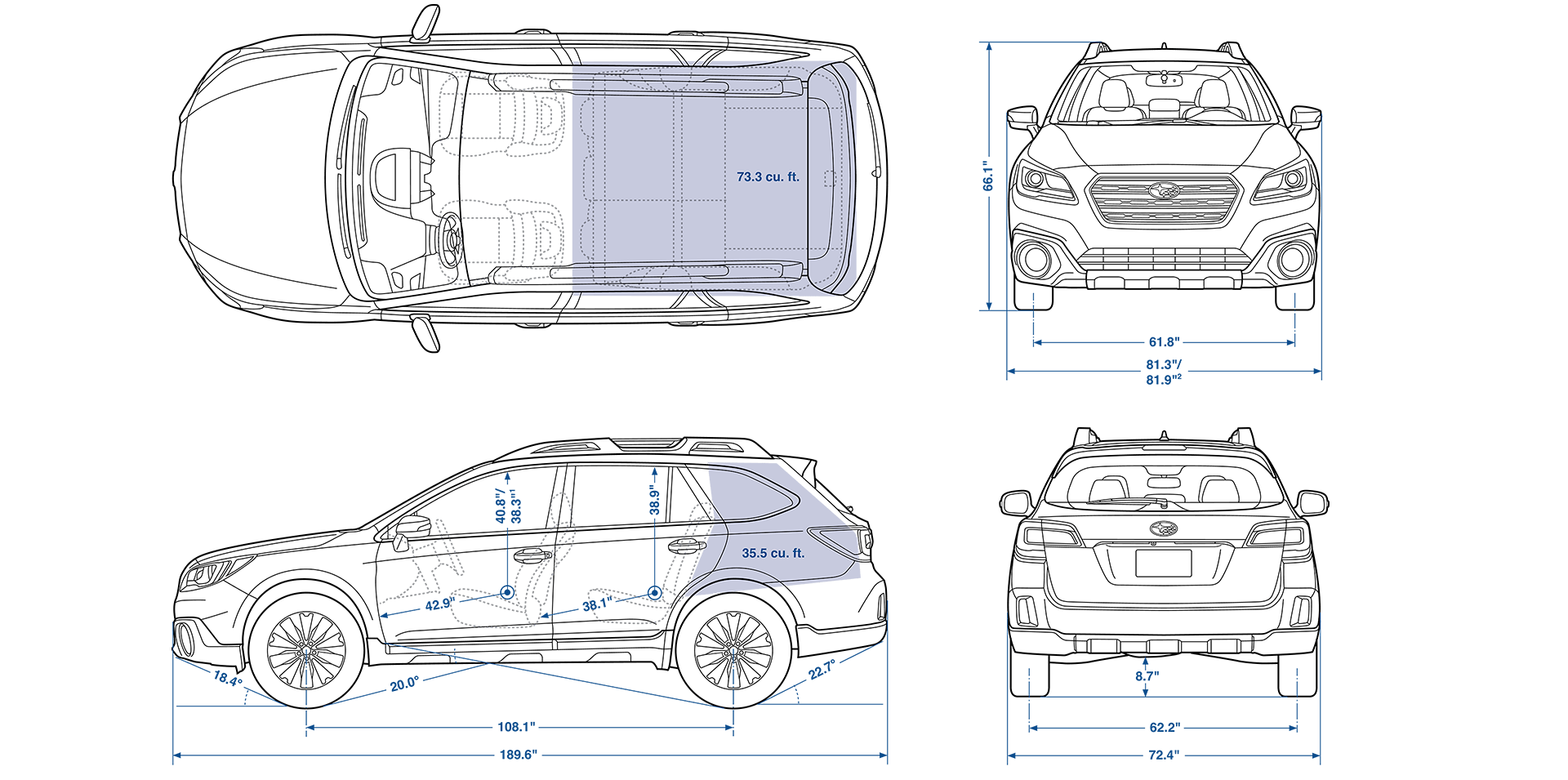 2016 subaru outback length