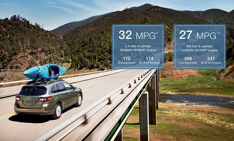 <b>Efficiency</b>  With the Lineartronic® CVT, the EPA fuel economy rating is 32 highway MPG<sup>9</sup>, giving you over 550 miles on a full tank<sup>12</sup>. So where others' roads come to an end, yours is just beginning.
