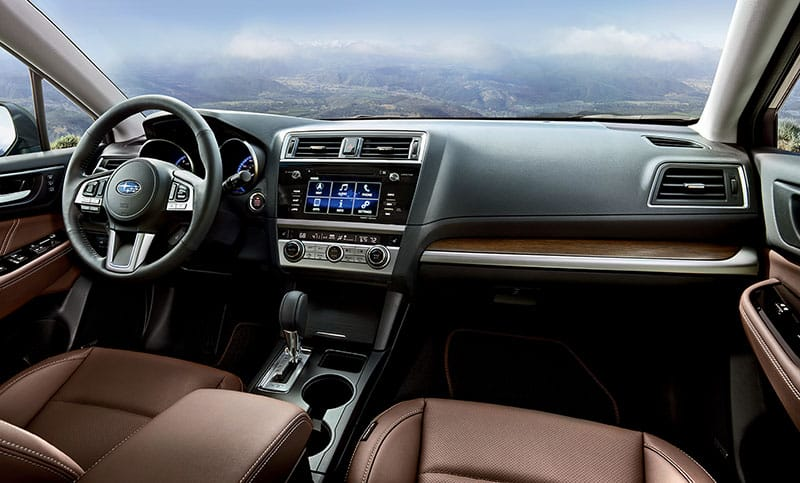 The Outback Touring greets you with luxurious styling, highlighted by woodgrain accents throughout and Java Brown Perforated Leather seating.