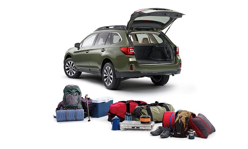 <b>Room to play.</b>  With the Outback, versatility isn't an add-on, it's standard. Equipped with roof rails that feature retractable cross bars<sup>5</sup> seamlessly integrated into its design, every Outback is adventure-ready, right out of the factory. And with prodigious space, 60/40-split folding rear seatbacks, and an available power rear gate with height memory, the Outback has the versatility to match its capability.