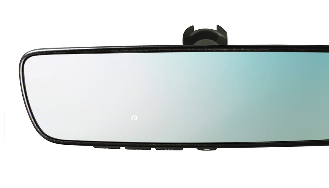 This upgraded auto-dimming mirror detects glare and darkens automatically to protect your vision, while featuring an 8-point digital compass. Three backlit HomeLink<sup>®</sup> buttons can be programmed to operate most garage doors, security gates, home lighting and more. Can also provide you with the last status of your garage door (open or closed) if programmed to a compatible opener featuring two-way communication.