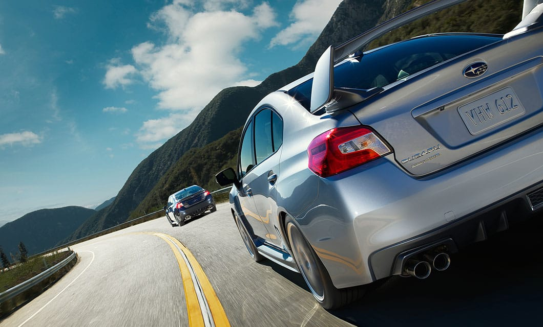 <br>The aggressive rear wing of the WRX STI adds downforce for more stability at higher speeds.<br><br><br>
