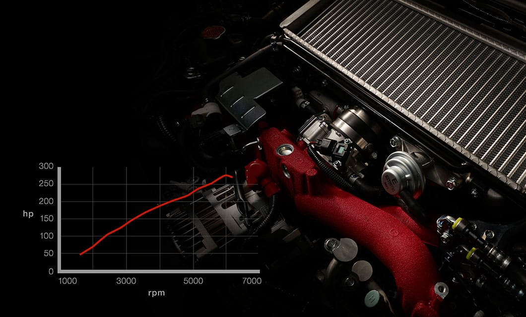 <br>The EJ25 is battle-tested and race-proven. This 2.5-liter, turbocharged SUBARU BOXER® engine with 305 horsepower, 290 lb-ft of torque is the product of years of refinement, and can help accelerate the WRX STI from a standstill to 60 mph in 4.6 seconds<sup>12</sup>. Its STI-exclusiveness means rock-solid reliability and virtually endless performance potential, ready to be unleashed..<br><br><br>