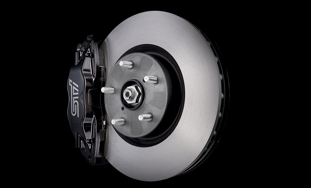 <br>There's a reason why the name Brembo® demands such respect. Case in point, the braking system of the WRX STI. With powerful ventilated 13-inch front and 12.4-inch rear rotors coupled with 4-piston front and dual-piston rear calipers, and aided by the technological wizardry of Super Sport ABS with Electronic Brake-force Distribution (EBD), this setup more than lives up to the Brembo® pedigree. They offer powerful, progressive, and predictable braking feel from the first lap to the last<sup>1</sup>.<br><br><br>