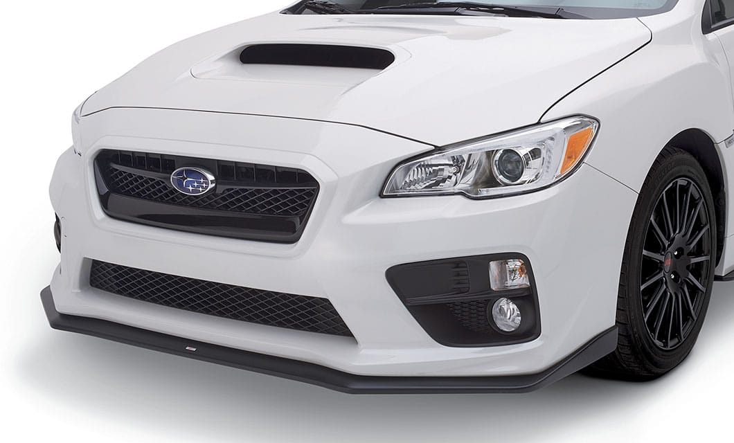 <b><br>STI Front Under Spoiler</b><br><br>STI Front Under Spoiler gives the WRX and STI a mean, ground-hugging look. Includes STI logo. <br><br><br>