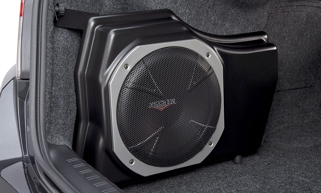 <b><br>Subwoofer</b><br><br>Provides powerful, deep base, and also assists in clean sound reproduction from all vehicle speakers. This is achieved by its integrated 100W amplifier and a passive crossover network. The self-contained unit mounts in the trunk. Manufactured for Subaru of America by Kicker®. Excludes models equipped with Harman Kardon® speaker system. <br><br><br>