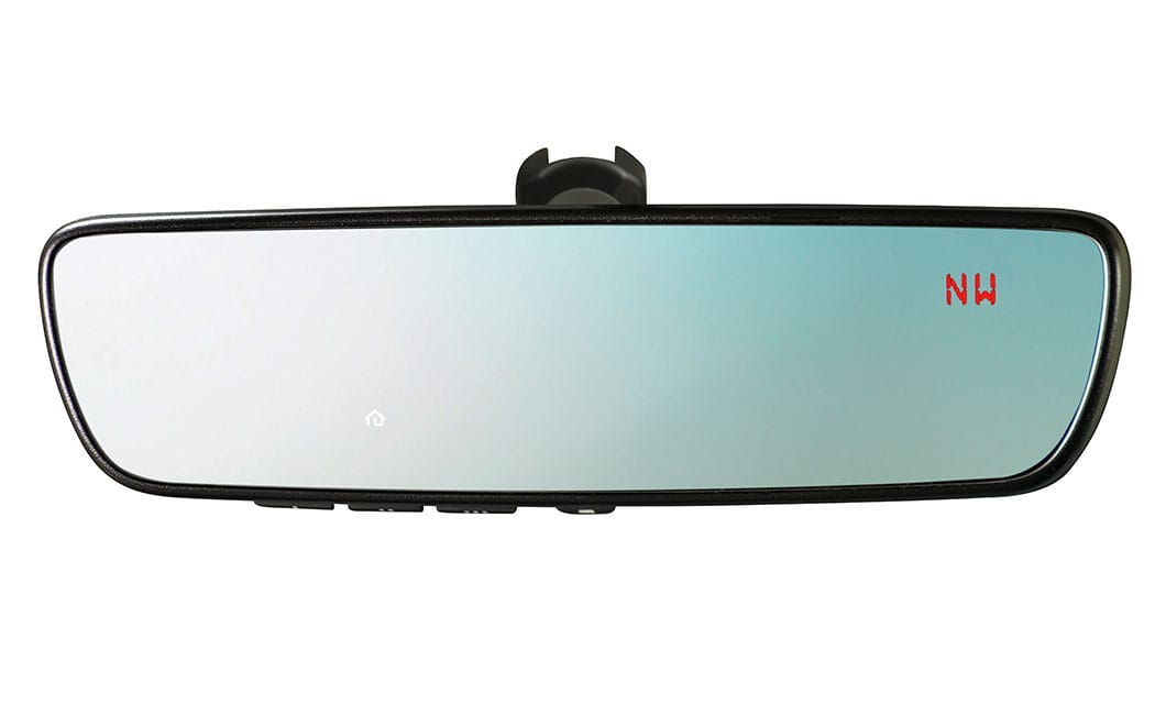 <b><br>Auto-dimming Mirror with Compass and HomeLink® Mirror</b><br><br>Darkens when headlights are detected from behind the vehicle. Includes electronic compass and three integrated HomeLink® buttons, which can be programmed to operate most garage-door openers and other HomeLink®-compatible devices.<br><br><br>