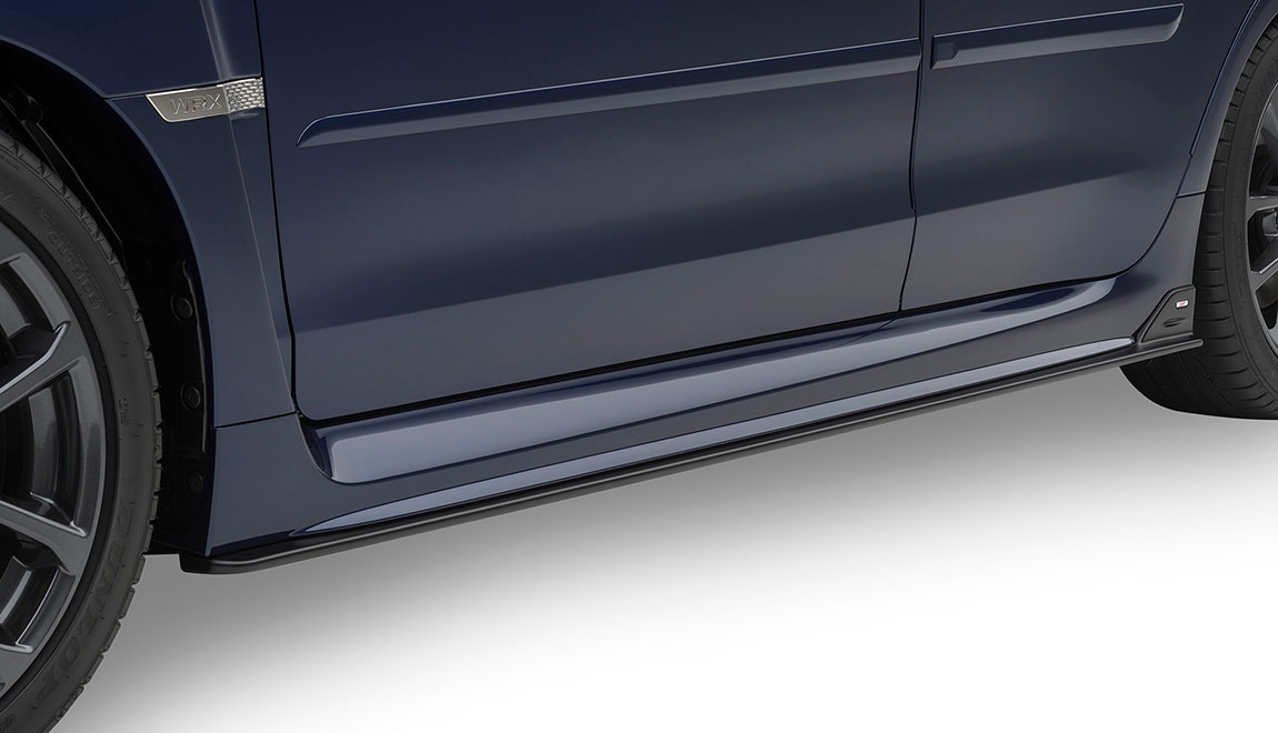 Give your vehicle a ground-hugging look down the rocker panels of the WRX or WRX STI. Kit includes both left and right side under spoilers. Includes STI logo.
