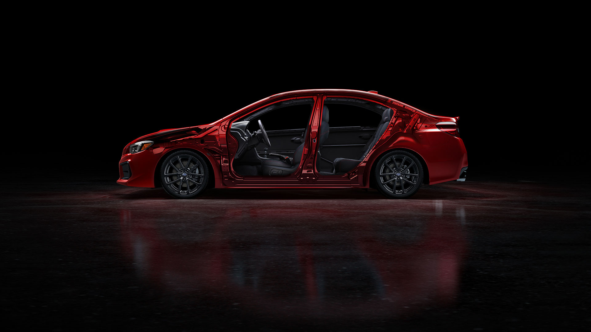 Our Ring-shaped Reinforcement Frame is exceptionally strong for maximum resistance to impact energy, while its unique configuration helps divert that energy away from occupants. Also, front, front-side and side-curtain airbags<sup>3</sup>—standard on every WRX and WRX STI—surround outboard occupants in the event of a crash to further help prevent injury.