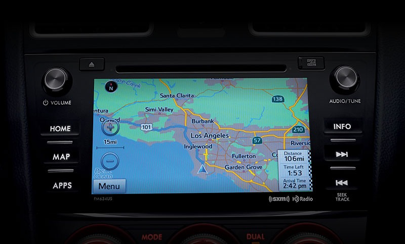 <br>With its high-res touchscreen and available voice-activated SUBARU STARLINK<sup>™</sup> Multimedia Navigation system, finding that perfect drive becomes easier. SUBARU STARLINK<sup>™</sup> Multimedia comes standard and offers safe access to apps like Pandora<sup>®</sup>, iHeartRadio<sup>®</sup>, Stitcher<sup>™</sup> and Aha<sup>™</sup><sup>16</sup>, along with SiriusXM<sup>®</sup> All Access Radio<sup>17</sup>, Traffic<sup>®</sup><sup>18</sup> and Travel Link<sup>®</sup><sup>18</sup>, as well as the ability to read your text messages to you while you stay focused on the road<sup>12</sup>.