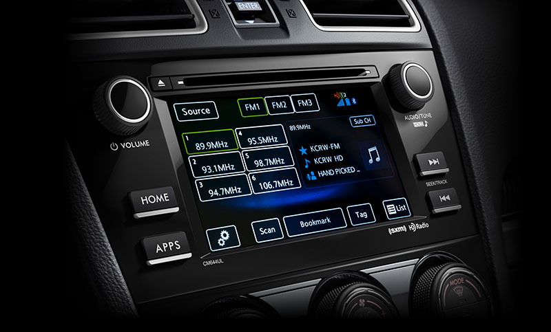 <br>With SUBARU STARLINK<sup>™</sup> Multimedia, you'll get Bluetooth<sup>®</sup>, iPod<sup>®</sup>, USB, and auxiliary jack connectivity, as well as access to Pandora<sup>®</sup>, iHeartRadio<sup>®</sup>, Stitcher<sup>™</sup>, Aha<sup>™</sup><sup>16</sup>, SiriusXM<sup>®</sup> All Access Radio<sup>17</sup> and HD Radio<sup>®</sup>. Crank up the available 440-watt-equivalent 9-speaker Harman Kardon<sup>®</sup> premium audio system, and you're off.