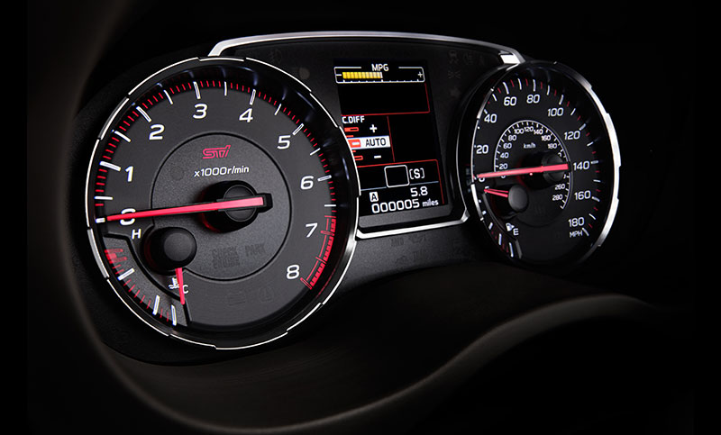 <br>The instrument clusters of the WRX and WRX STI are designed to deliver vital stats in an instant. Its electroluminescent speed and RPM gauges have been updated for 2018, offering sharper contrast and clearer visibility. And with the centrally located LCD display, you can keep track of your running time and mileage stats as well as SI-DRIVE and DCCD settings, if you opt for the ultimate performance of the WRX STI.<br>