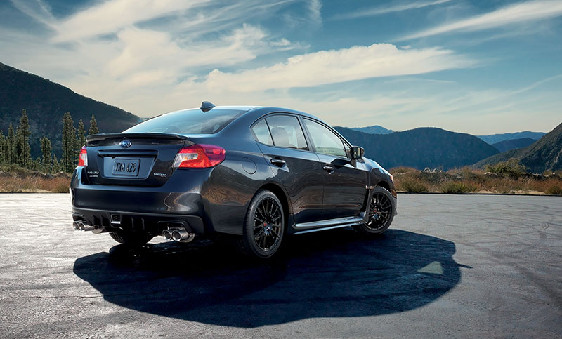 <br>The available WRX Sport Package Includes four STI 15-spoke black-finish alloy wheels<sup>21</sup>, an STI performance exhaust system and an STI short-throw shifter with an STI shift knob made of high-quality aluminum and leather. Give your WRX an exclusive, custom look.