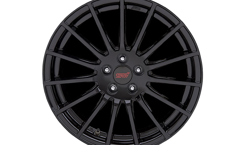 <br>STI 15-Spoke Black Alloy Wheels<sup>21</sup>. Straight from Subaru Tecnica International—stiff, light, and mean.