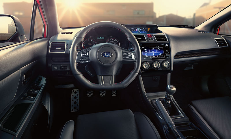 <br>From SUBARU STARLINK<sup>™</sup> Multimedia to a 6-speed manual or Sport Lineartronic<sup>™</sup> transmission with SI-DRIVE and paddle shifters, the cockpit of the WRX ensures every drive is dialed-in.