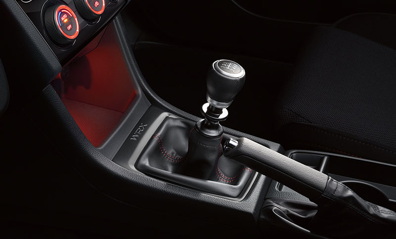 <br>You're in command with either the revised 6-speed manual transmission with carbon 1st and 2nd gear synchros, or the available Sport Lineartronic<sup>™</sup> Transmission with paddle shifters, 6- and 8-speed manual modes, and the ability to choose from three performance modes via Subaru Intelligent Drive (SI-DRIVE).