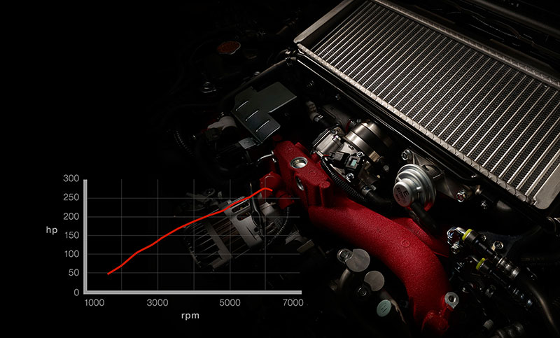 <br>The EJ25 is battle-tested and race-proven. This 2.5-liter, turbocharged SUBARU BOXER<sup>®</sup> engine with 305 horsepower, 290 lb-ft of torque is the product of years of refinement, and can help accelerate the WRX STI from a standstill to 60 mph in 4.6 seconds<sup>13</sup>. Its STI-exclusiveness means rock-solid reliability and virtually endless performance potential, ready to be unleashed.